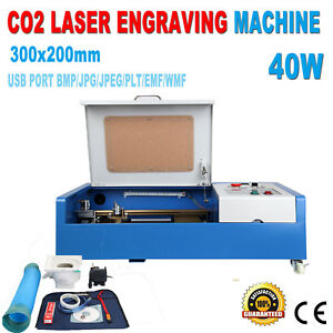 40w Co2 Usb Laser Engraving Cutting Machine Engraver Cutter 300x200mm 4 Wheels