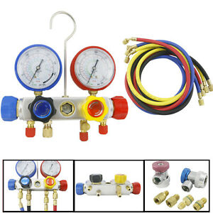 2 Kit R410a R22 R134a Manifold Gauge 4 Way Quick Coupler 60 Hose Hvac Adapter