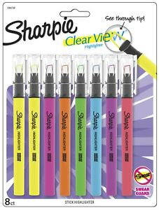 Sharpie Clear View Highlighter Stick Assorted Fluorescent Color Chisel Tip 8 Pck