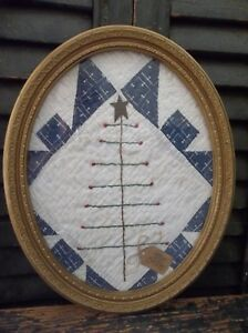 An Early Christmas Offering Primitive Feather Tree In Vintage Oval Frame