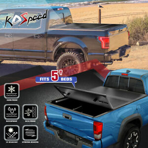 For 16 19 Toyota Tacoma 5ft Short Bed Hard Solid Tri fold Tonneau Cover Assembly