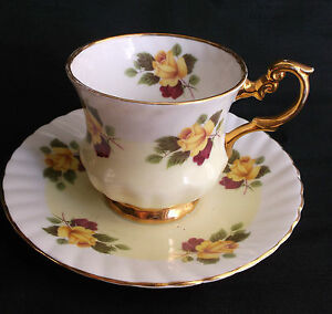 Vtg Footed Yellow Rose W Burgundy Gold Gilt Rosina Cup Saucer Bone China England