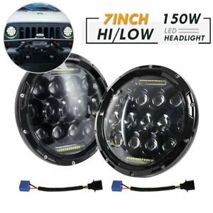 2pc 7 Inch Round Led Headlight Hi lo Fit 1997 2017 Jeep Wrangler Cj Tj Jk Harley