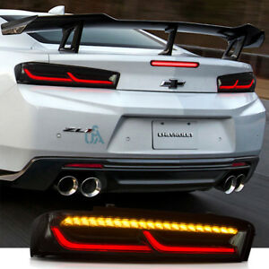 Vland Led Rear Lamps For 2016 2018 Chevrolet Camaro Smoke Sequential Tail Lights