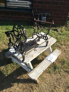 Antique Vtg White Short Treadle Sewing Machine Base Ornate Steampunk Iron Bench