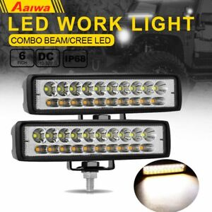 2x 6 Inch Dual Color Ed Work Light Bar Combo Beam Offroad Driving Fog Lamp Ute