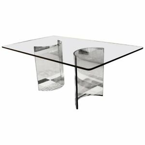 Mid Century Modern Sculptural Rectangular Glass Dining Table Pace 1970s