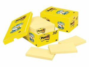 Post It Notes 3 X 5 Canary Yellow Pack Of 18 Pads