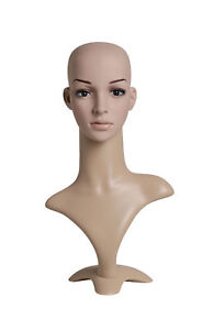 Female Plastic Mannequin Flesh Tone Head With Base Height 19 Head 21