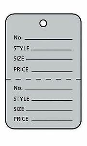 3000 Perforated Tags Price Sale 1 X 1 Two Part Gray Unstrung Tag Small Grey