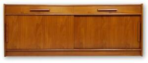 Danish Mid Century Modern Teak Credenza With Sliding Doors And Clean Lines