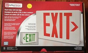 Utilitech Dual Color Led Exit Sign Red Or Green Nicd Battery Backup Nib
