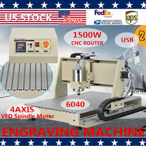 1500w 4 Axis 6040t Cnc Router Engraving Drilling Pcb Wood Milling Machine Usb Us