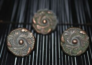 3 Vintage Ornate Copper Bronze Flower Cabinet Drawer Handles Knobs 1 1 4