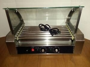 Commercial Electric 18 Hot Dog Roller Grill With Glass Cover Dual Controls