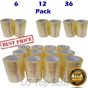 6 12 36 Rolls Clear Packing Tape Package Sealing Carton Box 2 X 55 Yards 165 Ft