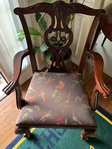Pair Baker Chippendale Mahogany Claw Foot Arm Chair Excellnt Buyer Pays Shipping