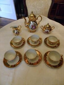 Antique 1920 1930s Gold Crown Mark Austria Demitasse Tea Coffee Set 24k Gold