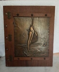 Vintage Wood Panel Scrapbook Copper Stamped Swordfish 13 X 16 Unique