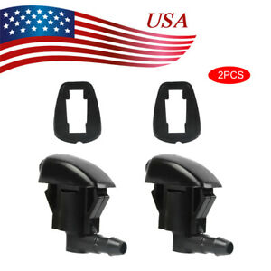 2pcs Windshield Washer Wiper Spray Nozzle Front For Chrysler Dodge