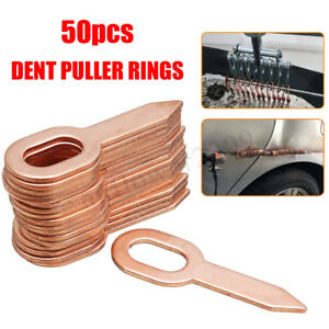 50x Copper Plated Oval Dent Puller Rings For Car Body Panel Pulling Washer Tool