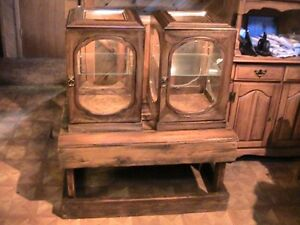 Vintage Western Store Lighted Display Cases 2 And Reclaimed Lumber Table Cctc