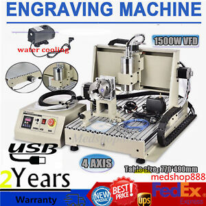 Usb Cnc Router Engraver Machine 4axis 6040 Metalworking Drill mill 1 5kw Spindle