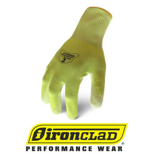 Ironclad Ikc3 Hi vis Cut Resistant Level 3 Safety Work Gloves 12 Pair Bulk Case