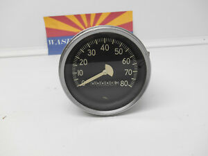 Vintage Stewart Warner Type 80 Mph Speedometer Speedo 3 3 8 Tested Working