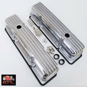 Small Block Chevy Tall Finned Aluminum Valve Covers Gaskets Sbc 350 400 327 305