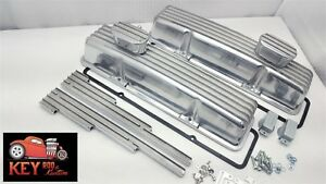 Small Block Chevy Tall Finned Aluminum Valve Covers Gaskets Breathers Looms
