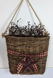 Primitive Pocket Basket With Pip Berries Metal Star Country Wall Decor