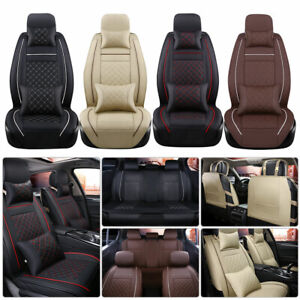 Car Seat Cover 5 Seat Suv Front Rear Set W Pillows Pu Leather Cushions Covers Us