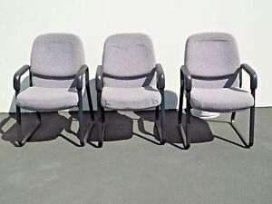 Three Allsteel Industrial Office Arm Chairs Black Metal Gray By Allsteel Usa