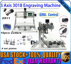 Mini 3 Axis Cnc3018 Engraving Machine Grbl Control Router Printer Carving Pcb