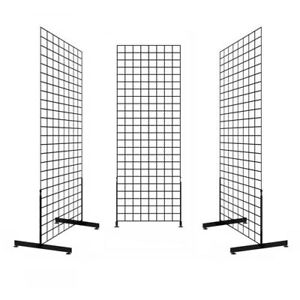 Gridwall Panel Tower With T base Floorstanding Display Kit 3 pack Black 2 x6