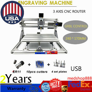 2417 Mini Cnc Router Kit Usb Desktop Metal Diy Mill Engraver Pcb Milling Machine