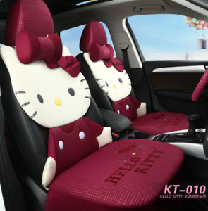 Princess Cute Hello Kitty Car Seat Cover Wine Red Ice Silk Covers Full Set