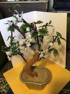 Huge Old Chinese Jade White Flower Fruit Blossom Tree W Celadon Vase 15