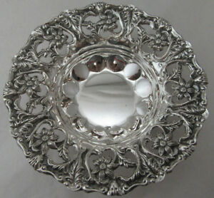 Sterling Silver 925 Fruit Candy Dish Very Stunning Floral Detail 98 Grams