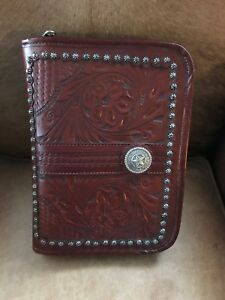 American West Day Planner Leather Western Silver Takes Refills Brown