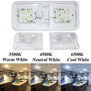 Rv Led 12v Ceiling Fixture Multi Double Dome Light For Camper Trailer Rv Marine