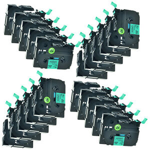 20 Pk Black On Green Tz 741 Tze 741 Label Tape For Brother P touch Pt 1800c 2600