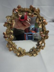 Vintage Filigree American Doll Sized Table Top Vanity Mirror Frame 5 X 4