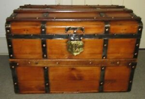 Antique Steamer Trunk Vintage Victorian Copper Studded Stagecoach Chest Tray