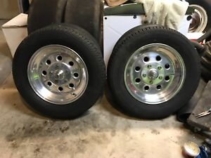 Weld Aluminum Spindle Mount Draglite Wheels Mustang 2 Spindles Pair Polished