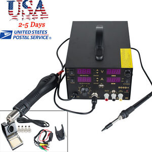 Pro 909d 4in1 Soldering Rework Station Solder Iron Smd Hot Air Gun Dc Power Usa