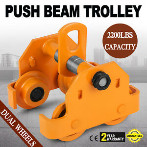 1 Ton Push Beam Track Roller Trolley Handling Tool Dual Wheels Overhead Newest