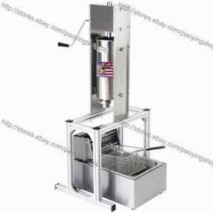 Heavy Duty Manual Vertical 5l Spanish Churrera Churros Machine Maker W 6l Fryer