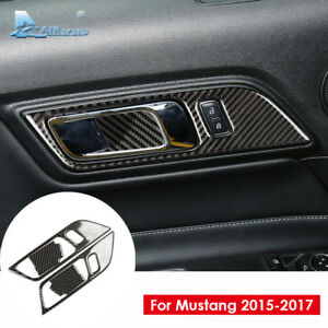 For Ford Mustang 2015 2017 Carbon Fiber Interior Door Handle Cover Trim Sticker